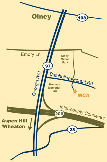 Map of WCA's location in Olney, MD