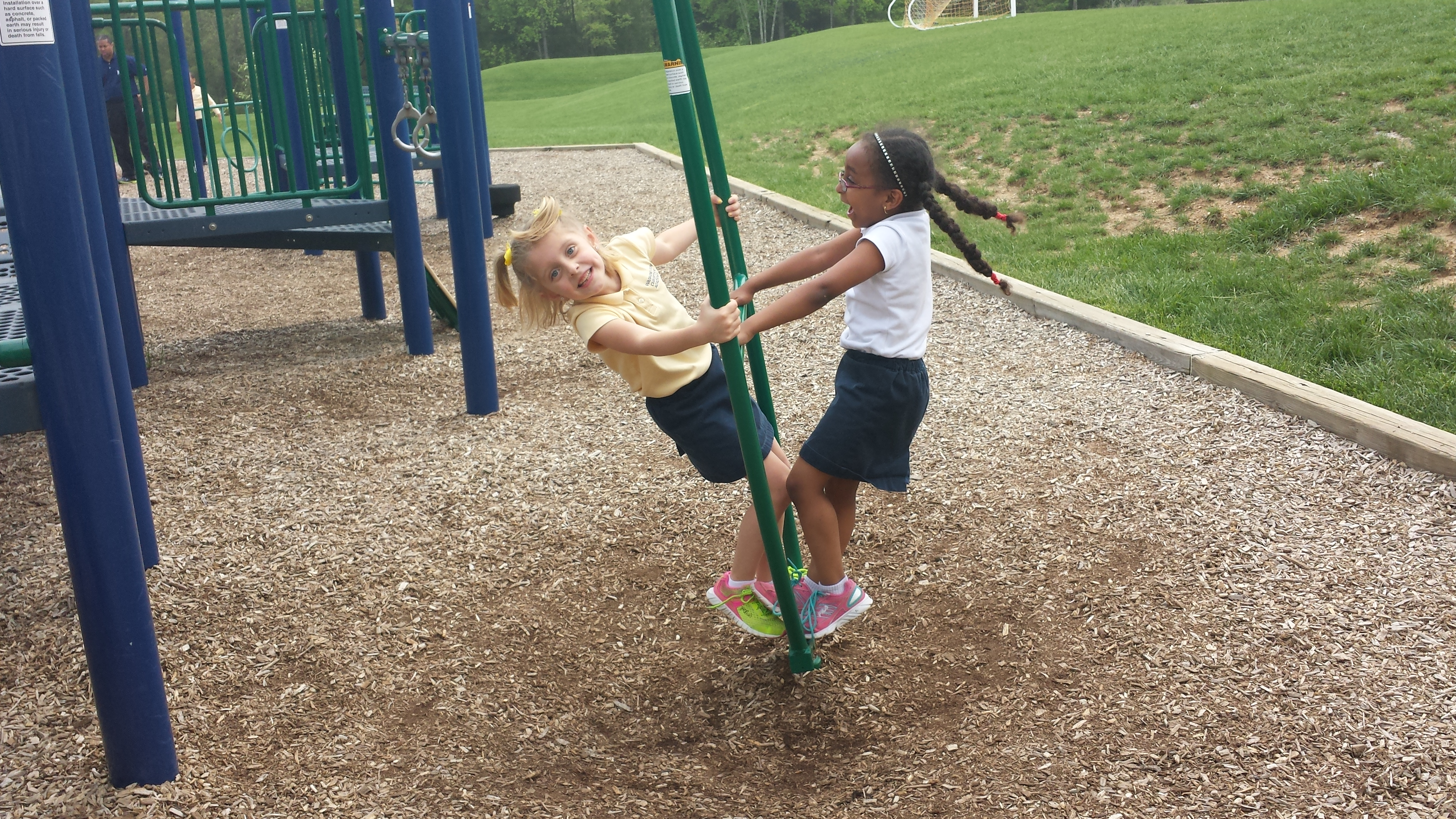 WCA Lower School girls on playground